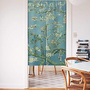 Spnaker Cartoon Blue Fruit Kids Avocado Painting Cotton Linen Fabric Doorway Curtain for Home Door Kitchen Decor 34x59 inches