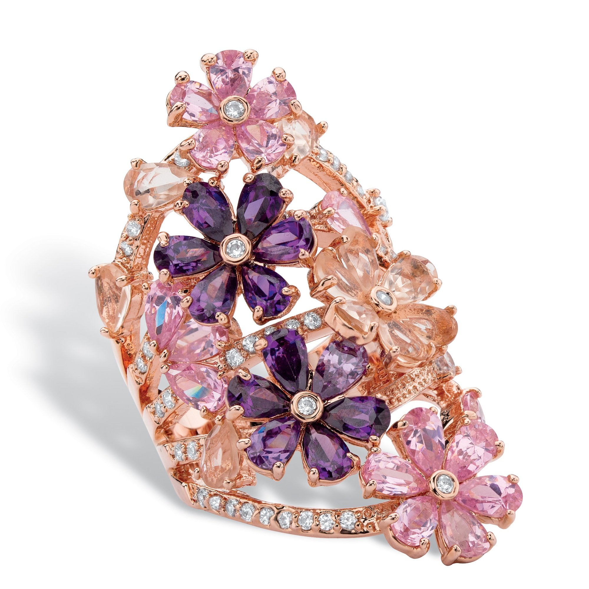 Palm Beach Jewelry Rose Gold-plated Pear Cut Glass Cubic Zirconia Pink Purple Flower Cluster Ring Size 8