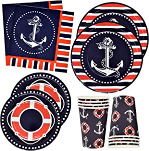 "Nautical Anchor Party Supplies Set 24 9"" Plates 24 7"" Plate 24 9 Oz Cups 50 Luncheon Napkins Sailor Boat Ship Theme Navy Red White Striped Birthday Baby Shower Disposable Tableware Decor Gift Boutique"