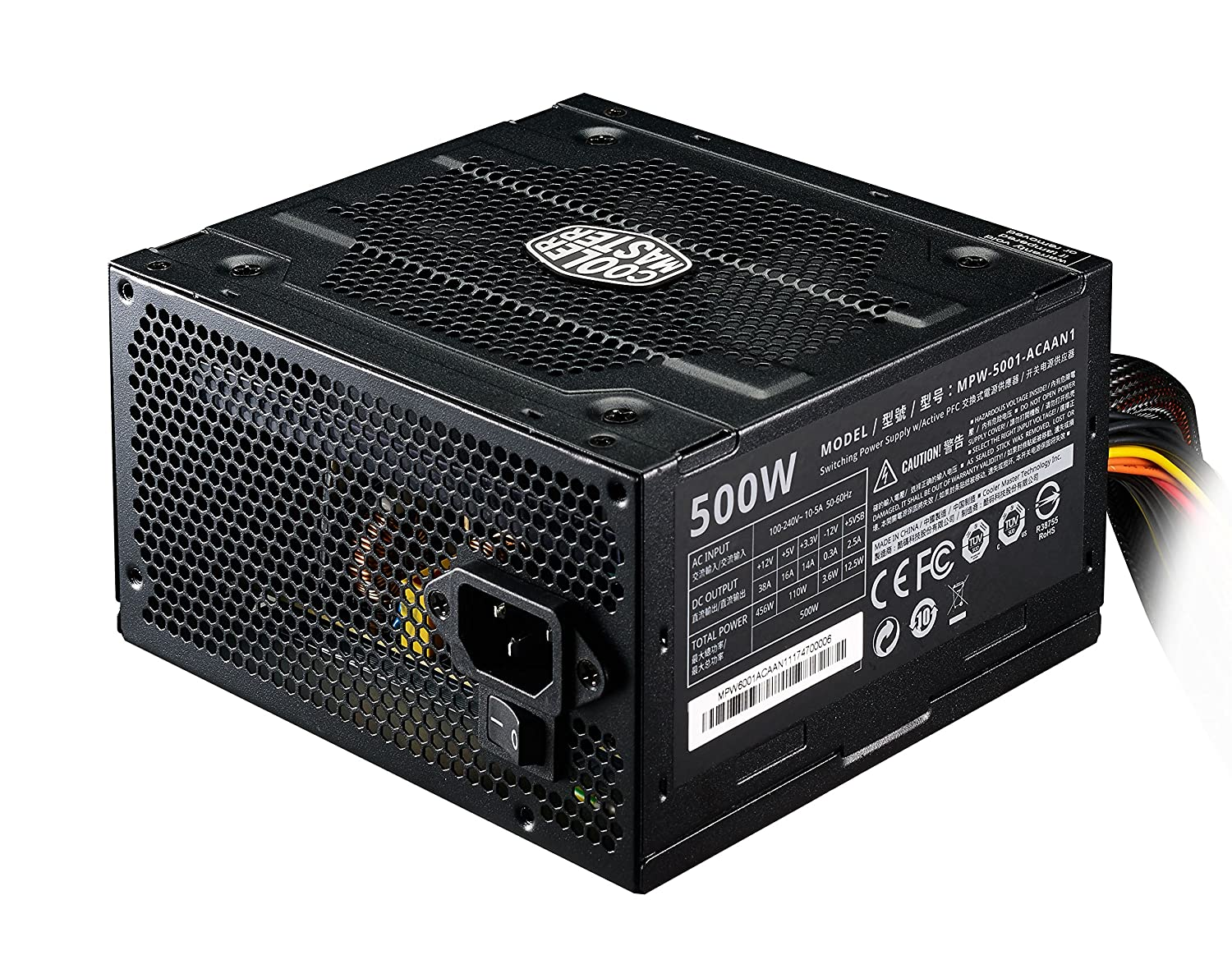 Cooler Master Elite V3 500 Watts Atx Power Supply Quiet Hand Tool Wire Harness 120mm Fan Pci E Support 3 Year Warranty Black Computers Accessories