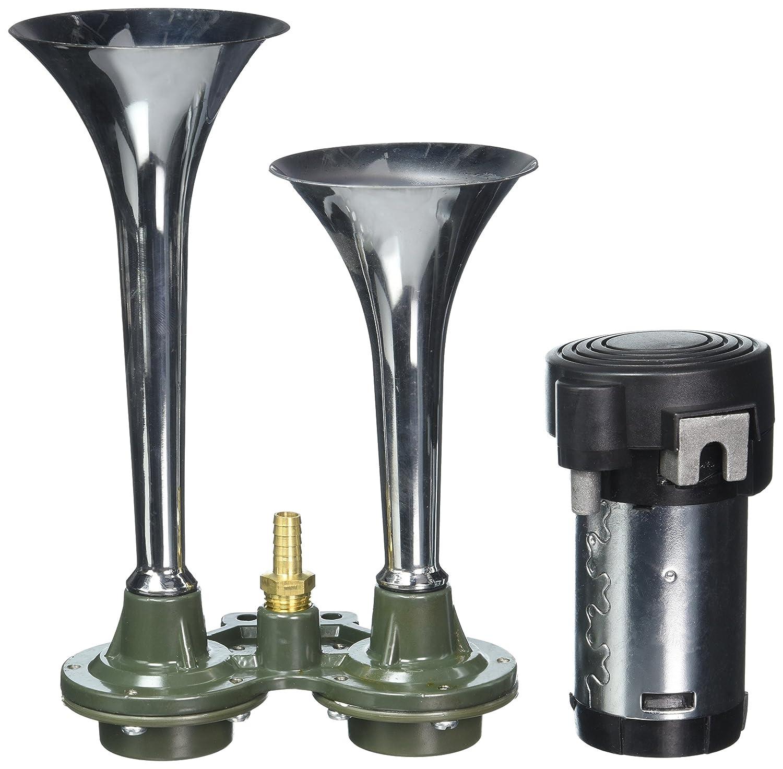 Spec-D Tuning AH-6202 Air Horn System 115Db 12V w/Compressor Dual 2PCS Trumpets Zinc Alloy