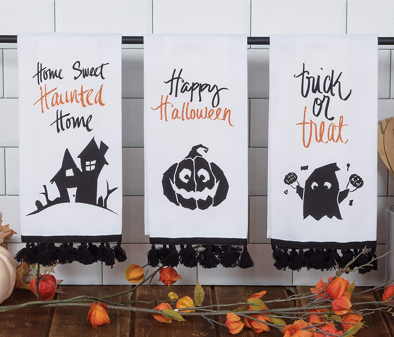 Kay Dee Halloween Word Art 3 Assorted Glitter Tea Towels