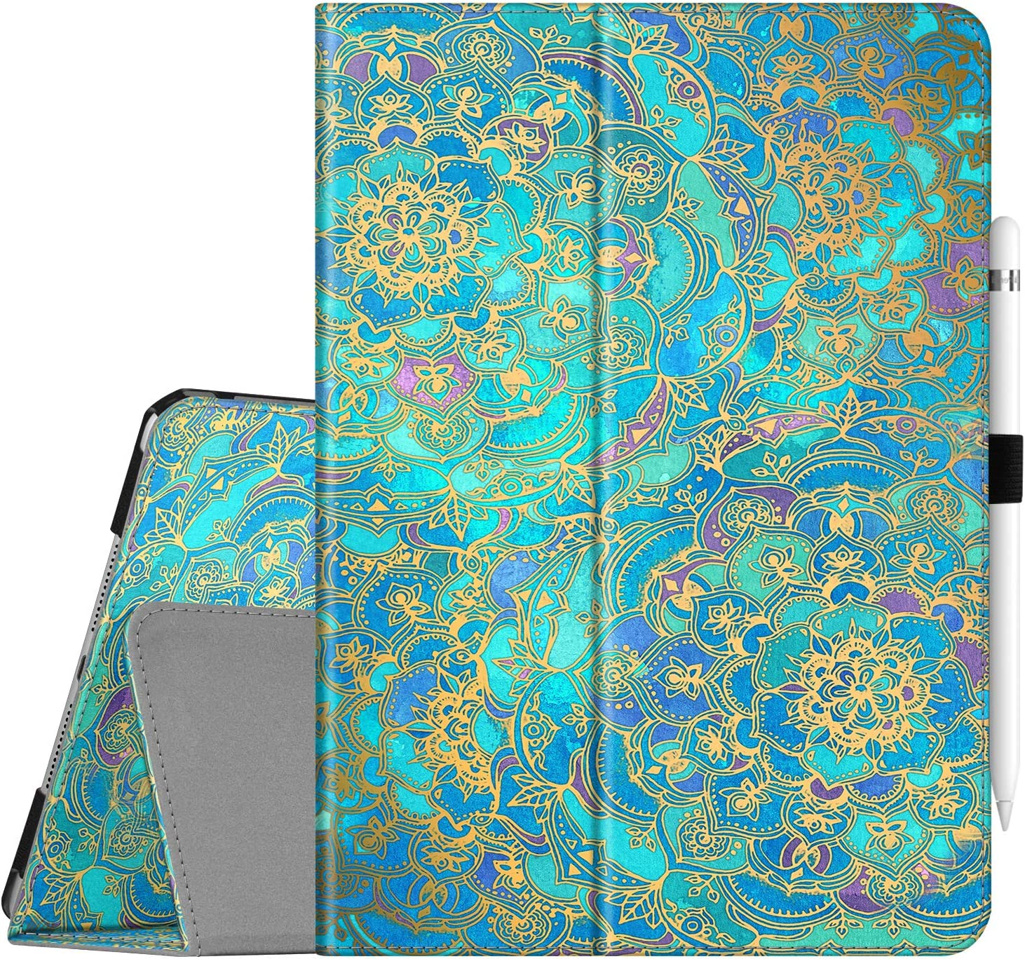 """Fintie Folio Case for New iPad 7th Generation 10.2 Inch 2019 - [Corner Protection] Premium Vegan Leather Smart Stand Back Cover with Pencil Holder, Auto Sleep/Wake for iPad 10.2"""", Shades of Blue"""