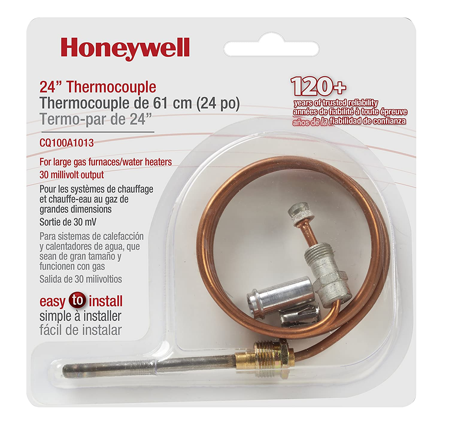 Honeywell Cq100a1013 24 Inch Replacement Thermocouple Gas Furnace Regulator Wiring For Furnaces Boilers And Water Heaters Home Improvement