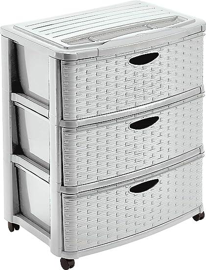 mondex PLS6226-15 – Torre de almacenaje Efecto Mimbre de 3 cajones y Ruedas de plástico, 56 x 39 x 66 cm, plástico, Color Beige, 66 cm