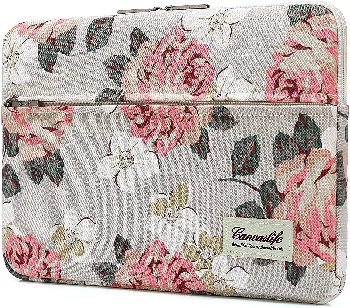 Canvaslife Pink Rose Laptop Sleeve 15 Inch 15 Case and 15.6 Laptop Bag