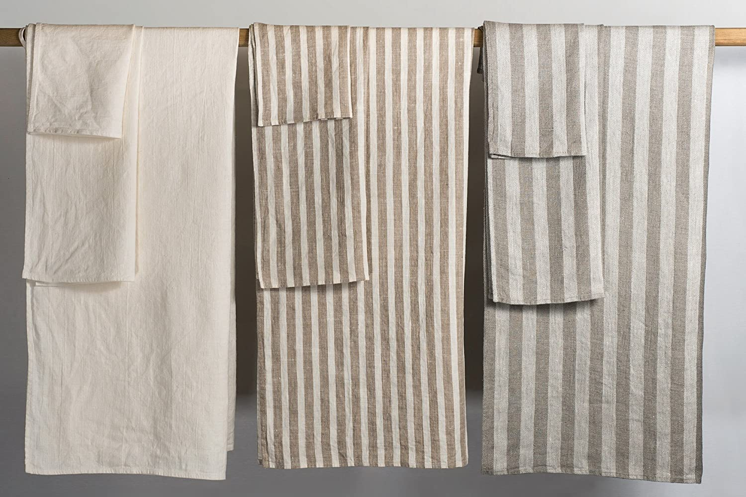 Bless Linen Jacquard Striped Pure Linen Bath Towel