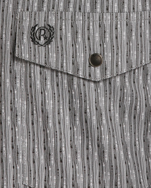36D4062 Panhandle Mens Grey Peached Poplin Print Western Shirt