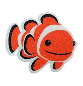 SlipX Solutions Adhesive Bath Treads: Tub Tattoos Add Non-Slip Traction to Tubs, Showers & Other Slippery Spots (Kid Friendly, 5 Count, Reliable Grip) (Clownfish)