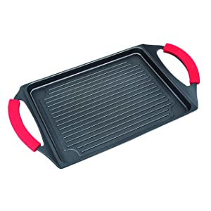 """MasterPan MP-138 Cast Aluminum Burner Grill Pan with Silicone Grips, 17"""", Black"""