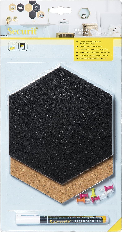 Securit – Hexagonal Juego de 7 pcs (4 x Pizarra + 3 x Corcho), Negro, 17,9 x 15,5 x 0,3 cm