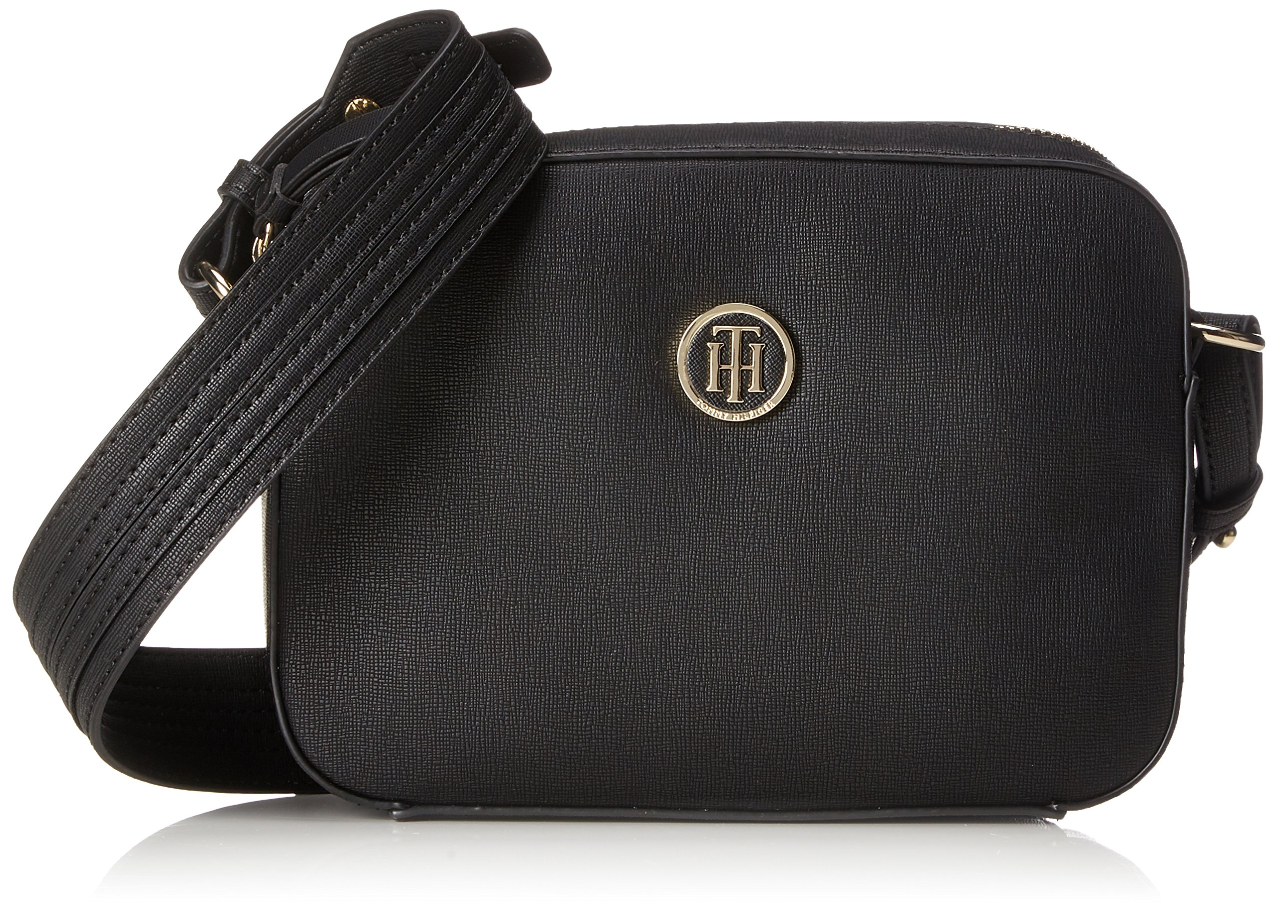 Tommy Hilfiger Th Signature Strap Camera Bag, Women's Bag Organiser, Black, 16x17x22 cm (B x H T)