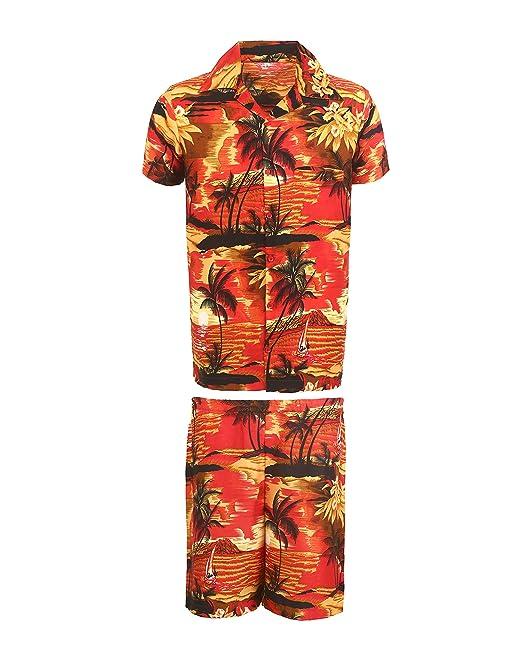 7c7891bdc SAITARK Mens Hawaiian Shirt STAG Beach Hawaii Aloha Party Summer Holiday  Fancy Palm Shirt and Short Set: Amazon.co.uk: Clothing