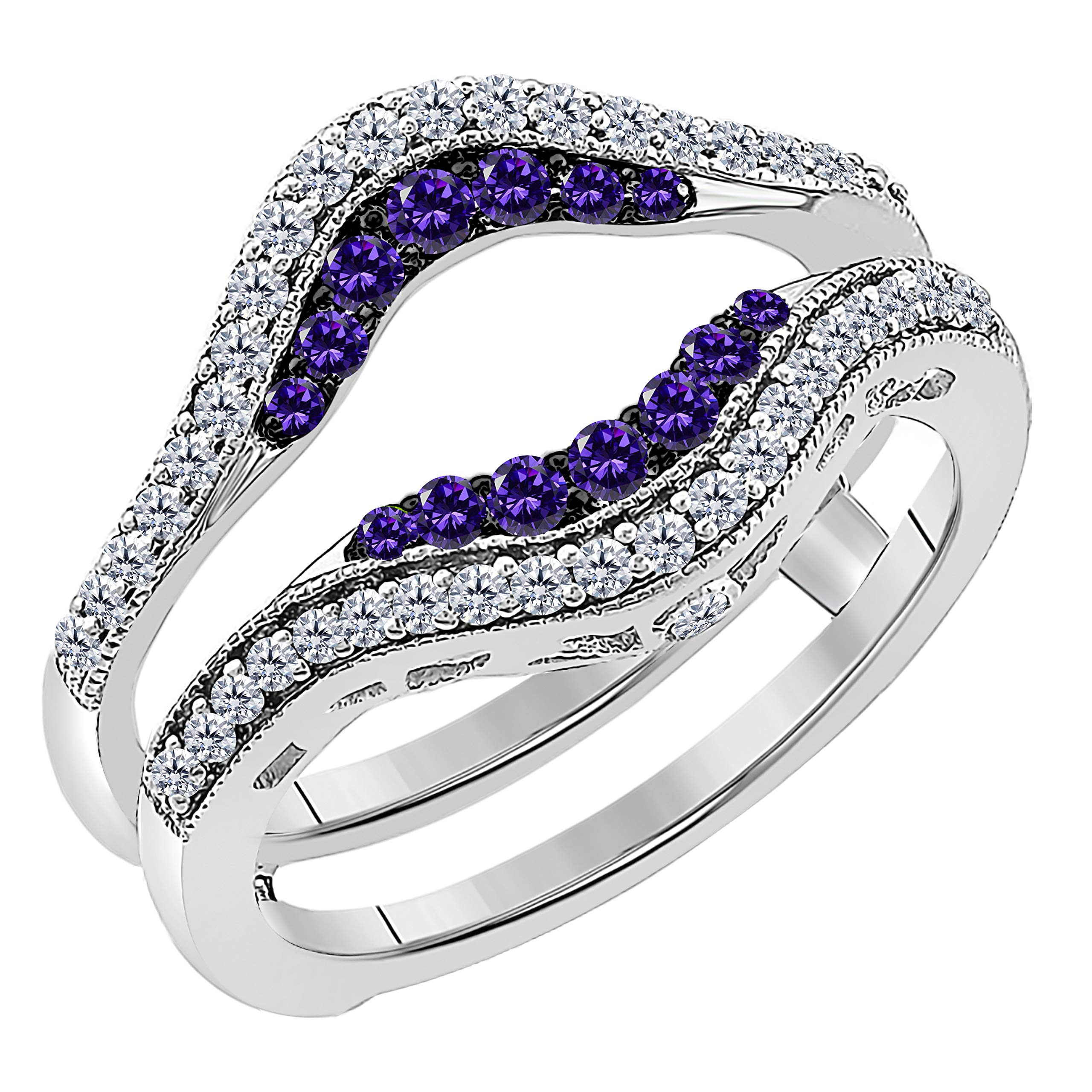 Women's 14k White Gold Plated Alloy Double Row Pave Set 0.50(ctw) CZ Amethyst & Cubic Zirconia Round Wedding Band Solitaire Enhancer Guard Wrap Ring