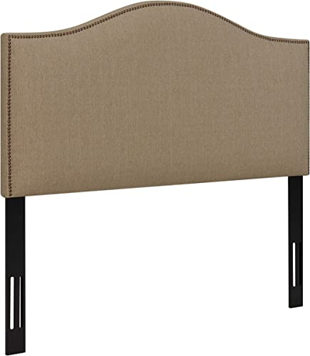 Ravenna Home Upholstered Headboard with Nailhead Trim, Queen, 61.8 W, Flax Tan