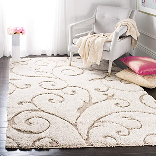 Safavieh Florida Shag Collection SG455-1113 Scrolling Vine Cream and Beige Graceful Swirl Area Rug 4 x 6