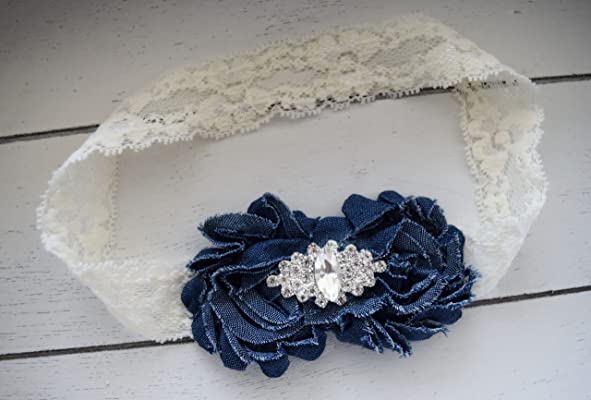 Denim and Lace - Denim Headband - Blue Jean Headband - Ivory Lace Headband - White Lace Headband - Denim Flower Girl - Country Wedding Bows