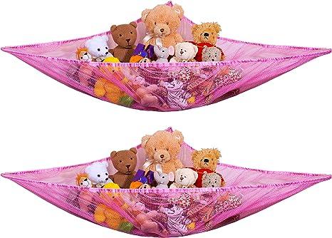 2 Pcs Hanging Mesh Storage Basket with 1 Stuffed Animals Toy Net Hammock Hommtina Foldable Corner Organizer 3 Tier Blue+Purple Neatly Organize Kid/'s Plush Toys and Save Space