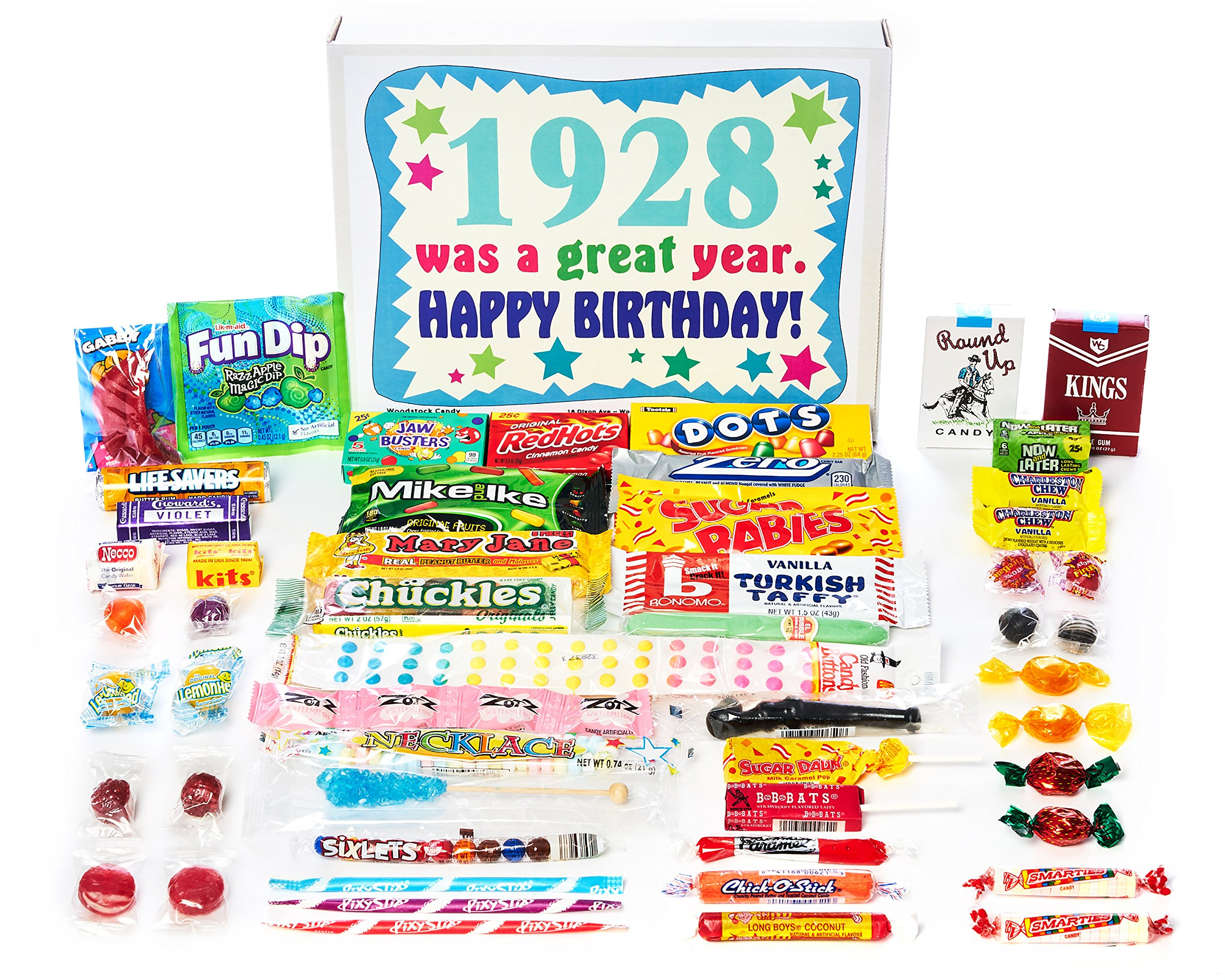 Woodstock Candy ~ 1928 91st Birthday Gift Box Vintage Nostalgic Retro Candy Assortment from Childhood for 91 Year Old Man or Woman Born 1928