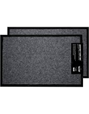 "California Home Goods 2 Pack - Ribbed Indoor Outdoor Rug for Entrance, Floor Mat with Shoe Scraper & Rubber Backing, Entryway Rug for High Traffic Areas, 17.5"" x 29.5"", Grey & Black"