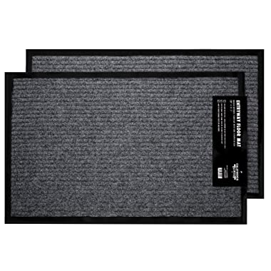 California Home Goods 2-Pack Ribbed Indoor Outdoor Rug for Entrance, Door Floormat with Shoe Scraper & Rubber Backing, Entry Way Rug for High Traffic Areas, 17  x 29.5 , Grey & Black