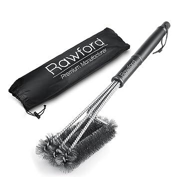 Profesional Cepillo para barbacoa – Mango Extra Largo (45 cm) – 3 cepillos de acero inoxidable en 1 ...