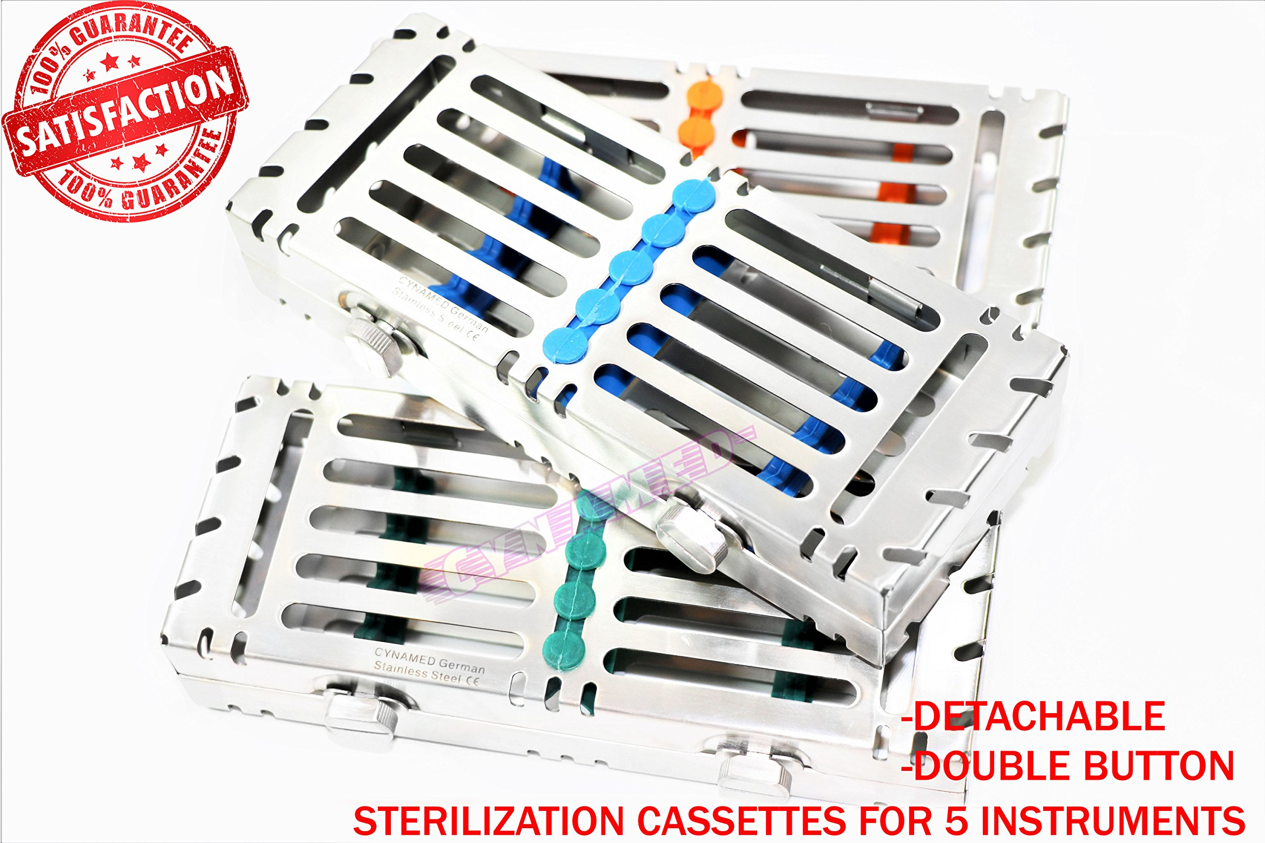 German AUTOCLAVABLE Detachable Sterilization Tray for 5 Instruments W/Double Buttons CYNAMED