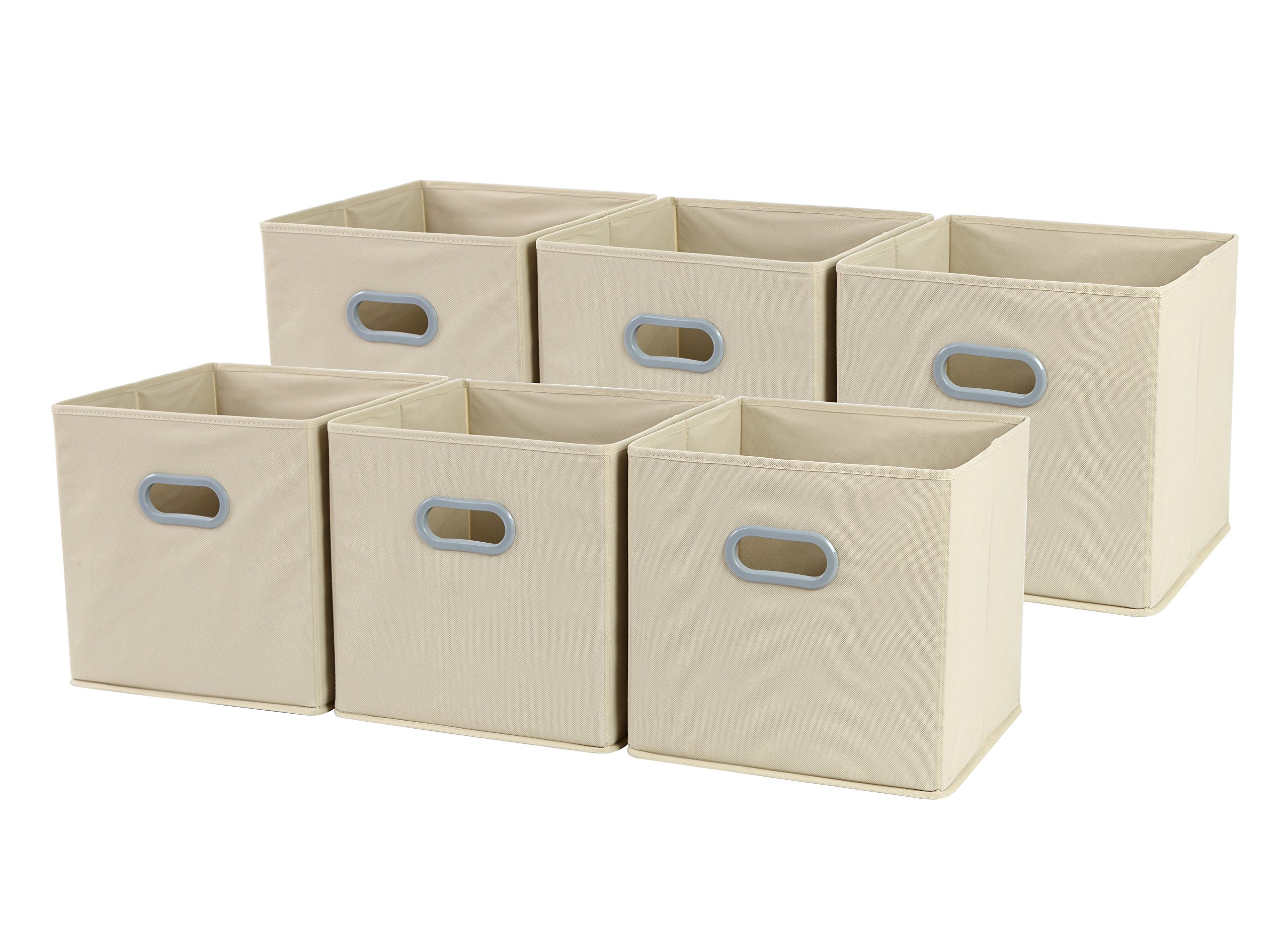 Sodynee New Large Foldable Cloth Storage Cube Basket Bins Organizer Containers Drawers, 6 Pack, 12'' x 12'' x 12'', Beige