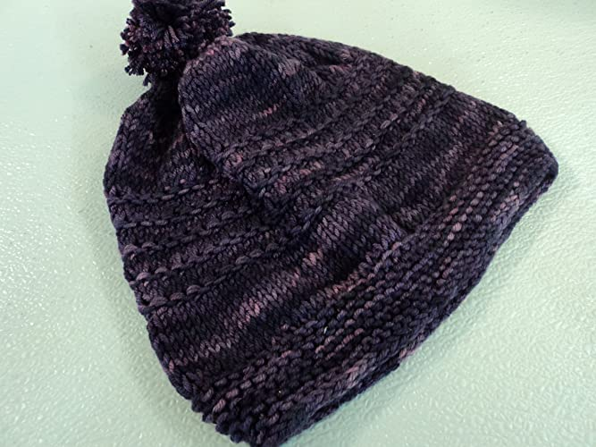 92885c81318 Amazon.com  Handcrafted Knitted Hat Beanie Purple Pink Pom Pom Slouchy Wool  Silk Female  Handmade