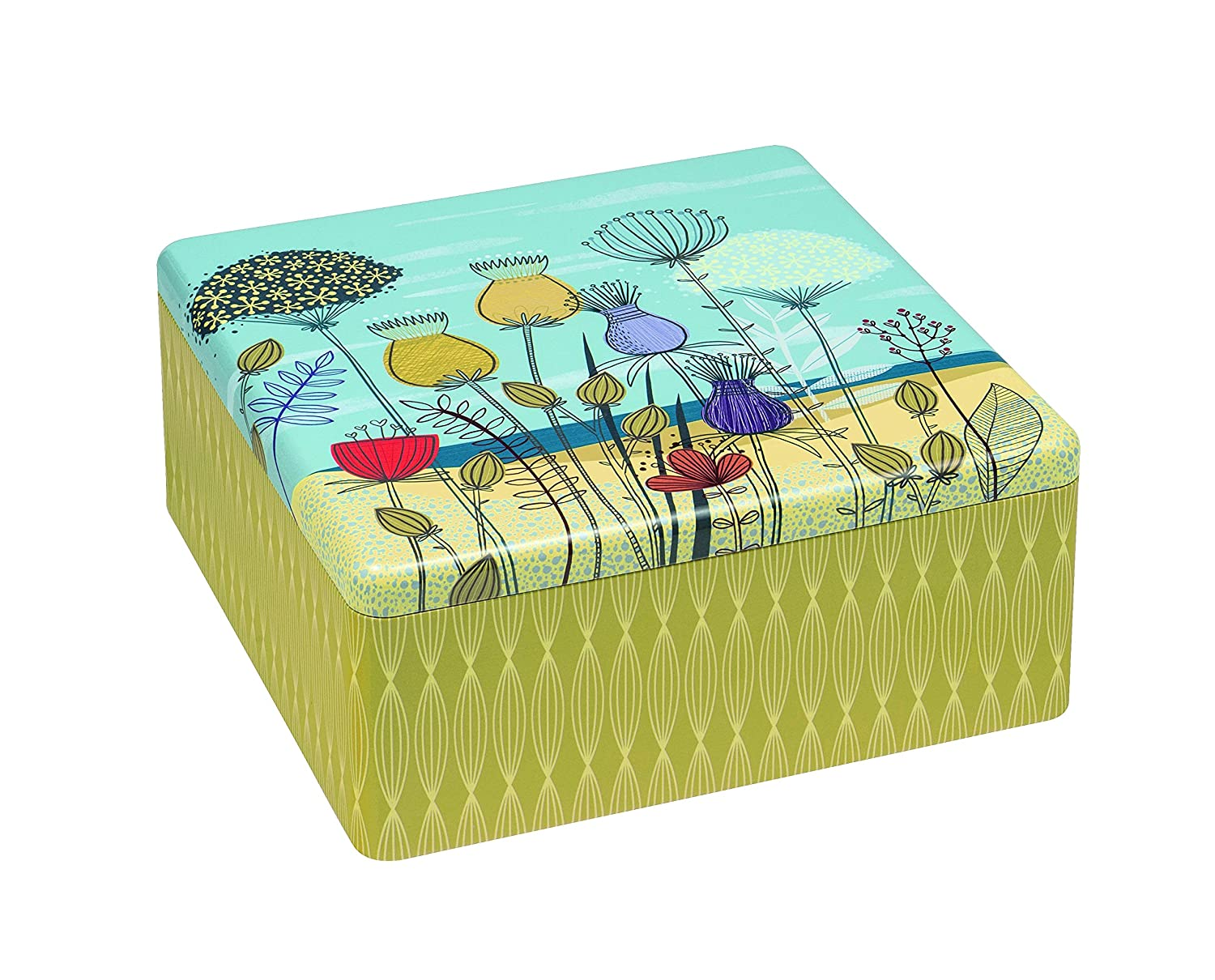 ST KILDA Sand Dunes FLOWER DESIGN Square Biscuit Tin / Cookie / Cake Tin / Kitchen Storage Tin - 22cm by St Kilda STK2118