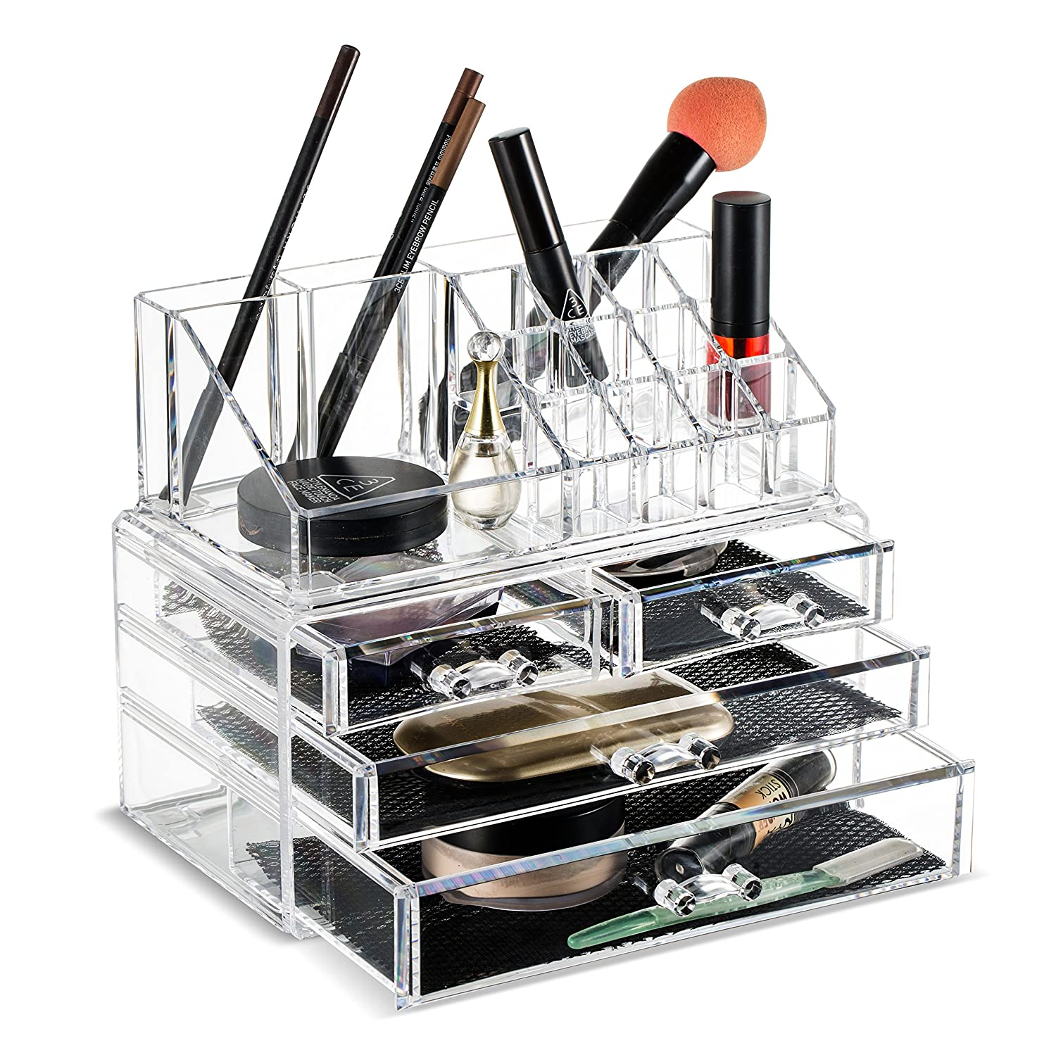 Felicite Home Makeup Cosmetic Organizer Conceal/Lipstick/Eyeshadow/Brushes In One Place Storage Drawers, Clear, Medium,Newest Edition Upgraded Bottom Drawer Size , 2 Piece Set by Felicite Home