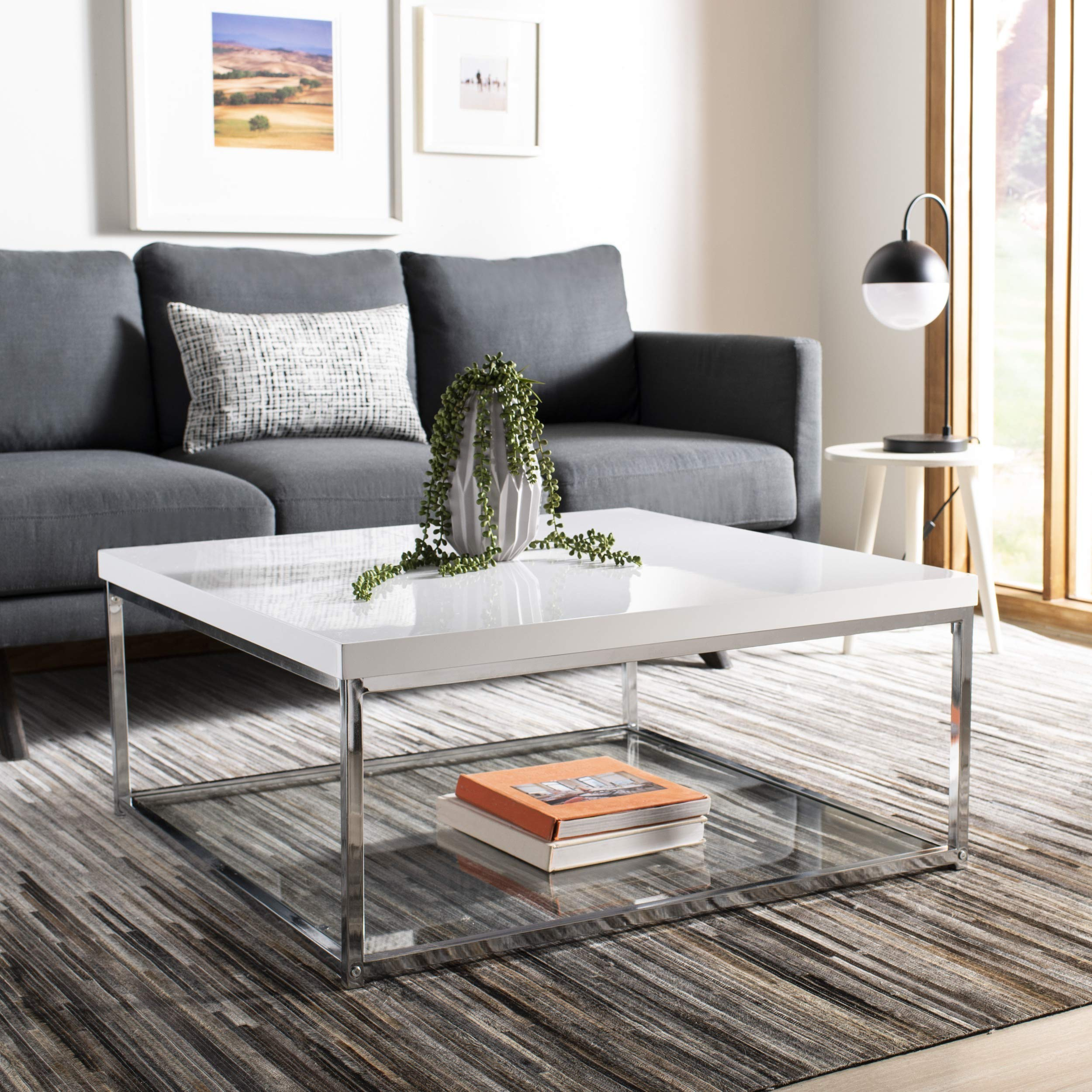 Safavieh Home Collection Malone White and Chrome Coffee Table by Safavieh