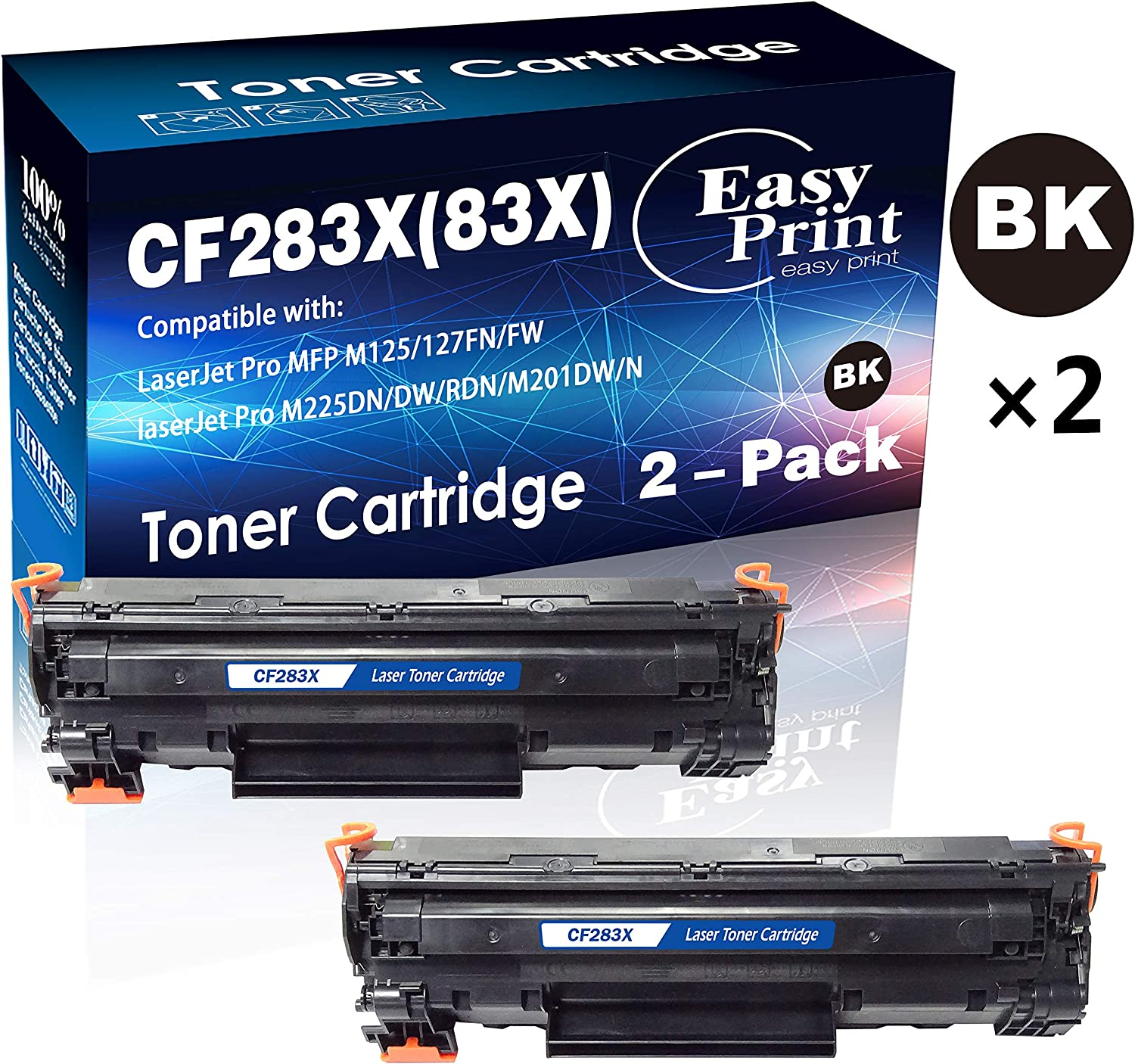 2-Pack Compatible 283X CF283X Toner Cartridge 83X Used for HP Laserjet Pro M225DN M225DW M225RDN M201DW M201N Printer, Sold by EasyPrint