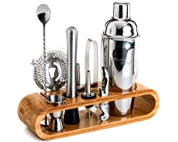 Mixology Bartender Kit: 10-Piece Bar Tool Set with Stylish Bamboo Stand | Perfect Home Bartending Kit and Martini Cocktail Sh