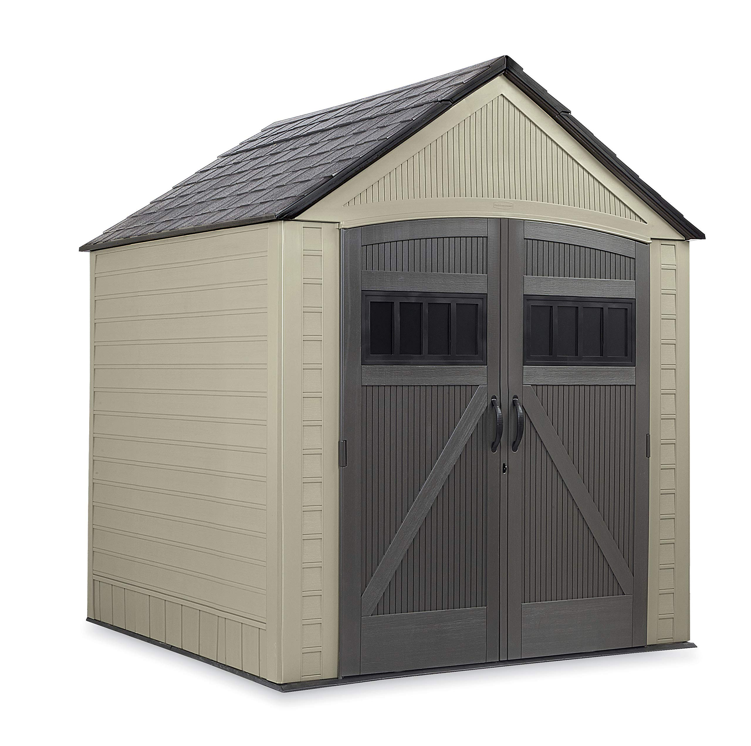 Rubbermaid Roughneck Storage Shed 7x7 Faint Maple and Brown