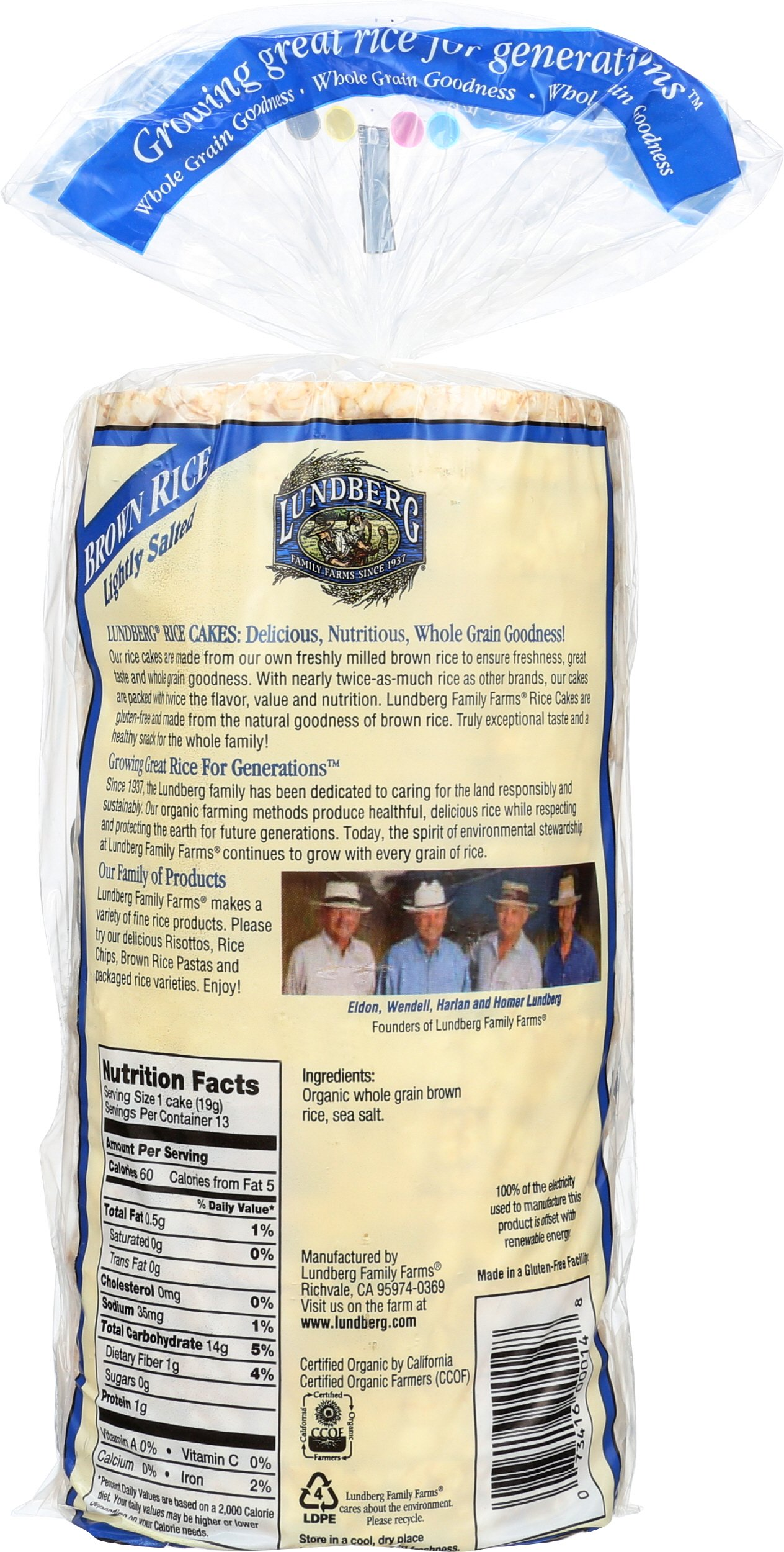 Lundberg Family Farms Organic Brown Rice Cakes, Lightly Salted, 8.5 Ounce (Pack of 12) by Lundberg (Image #2)