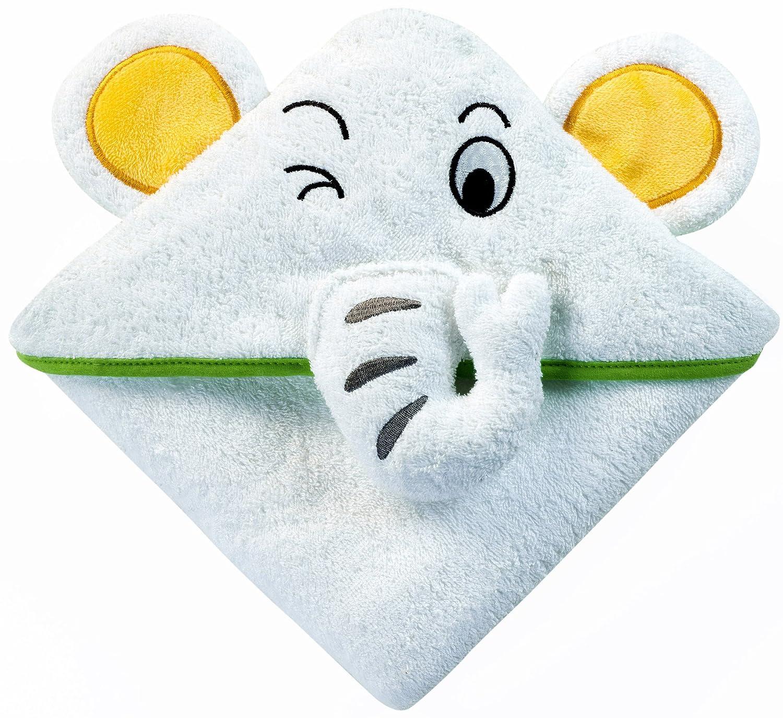 Baby Asciugamano con cappuccio e Elefante | 100x 100cm | in spugna asciugamano da bagno per neonati, neonato e bambino | Ideale per Bambini nella vasca da bagno, piscina e spiaggia | Accompagna il tuo bambino Molto lungo, da particolarmente grande Nikkik