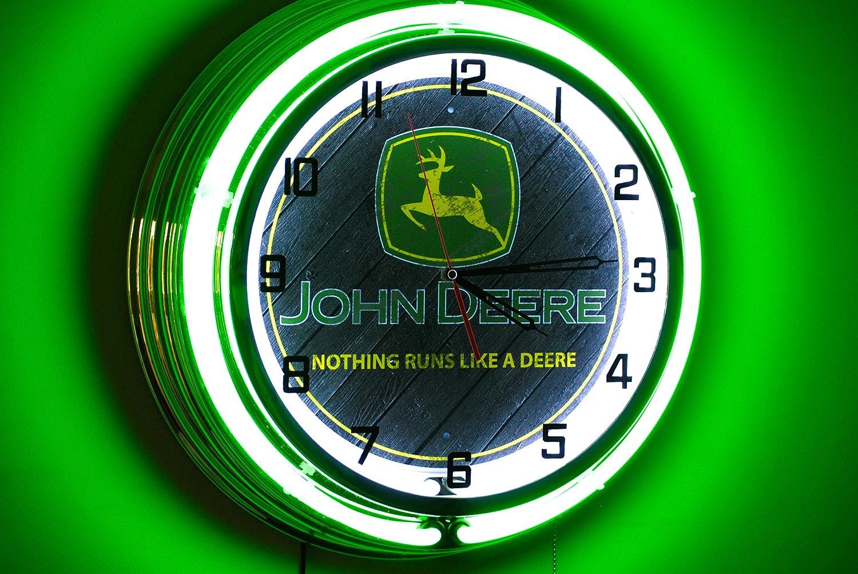 John deere 19 inch double neon clock amazon home kitchen amipublicfo Images