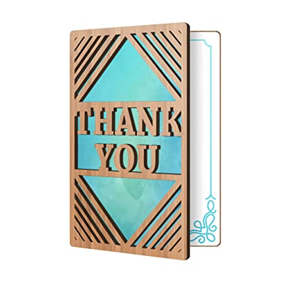 Amazon Com Thank You Card Real Bamboo Wood Greeting Card With