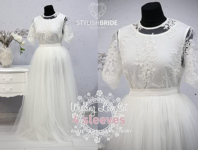 79a8697d24 Amazon.com: Mary Wedding Dress Tulle Set Lace 005 Crop Top with Sleeves and  Tulle skirt long, Bridal Lace, White Ivory Wedding Tulle Skirt: Handmade