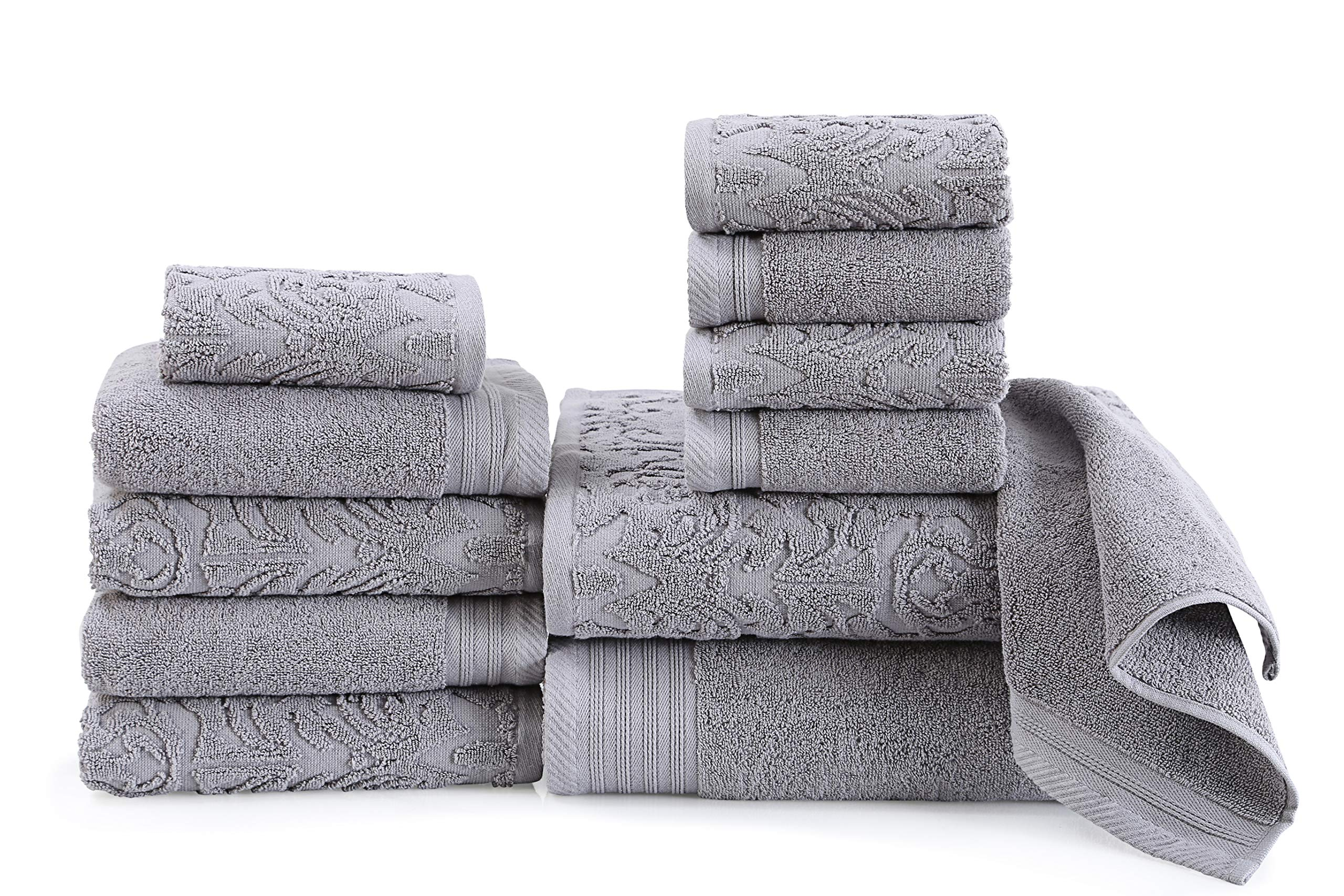 Wicker Park 600 GSM Ultra Soft Luxurious 12-Piece Towel Set (Grey): 2 Bath Towels, 4 Hand Towels, 6 Washcloths, Long-Staple Combed Cotton, Spa Hotel Quality, Super Absorbent, Machine Washable