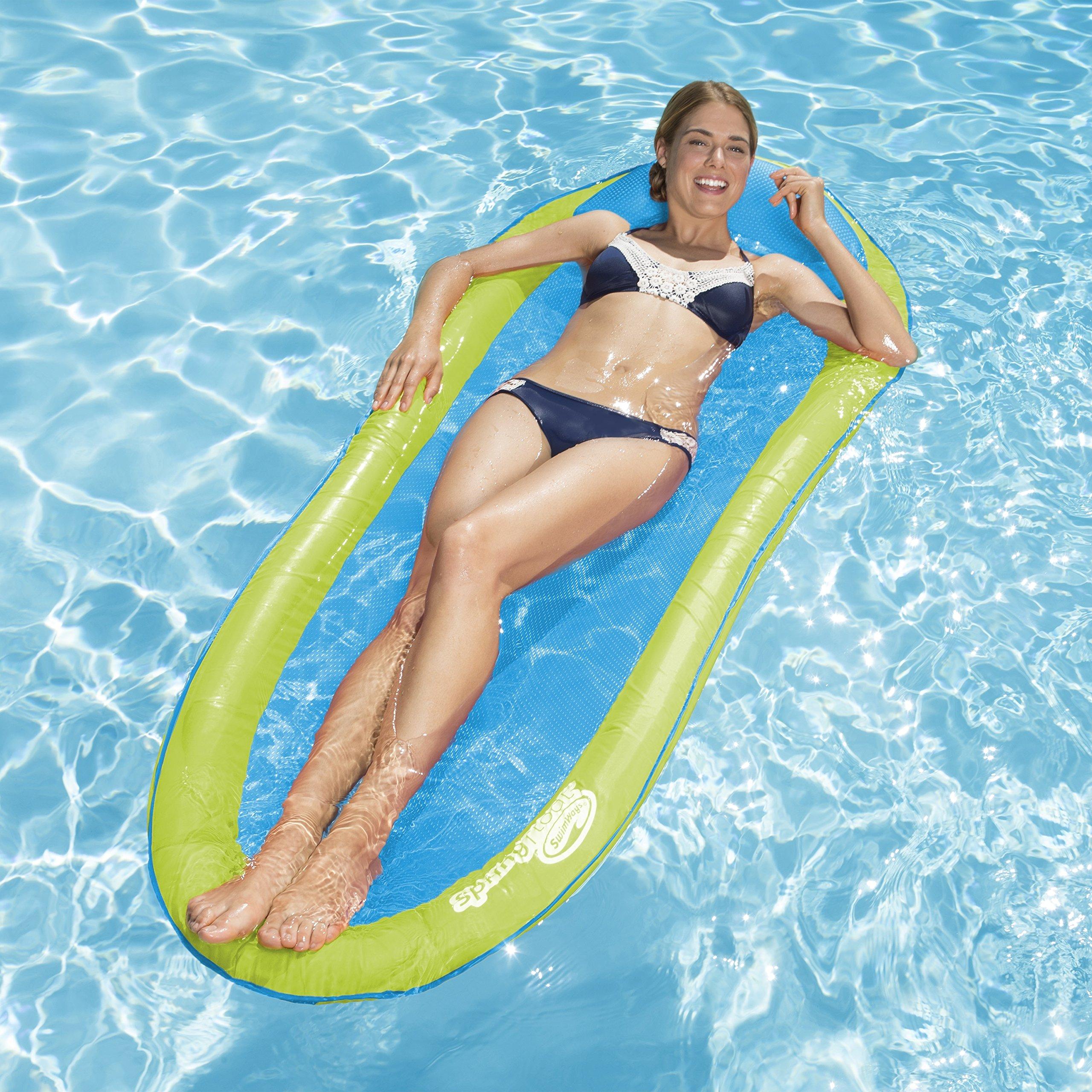 SwimWays Original Spring Float - Floating Swim Hammock for Pool or Lake - Lime/Light Blue by SwimWays (Image #3)