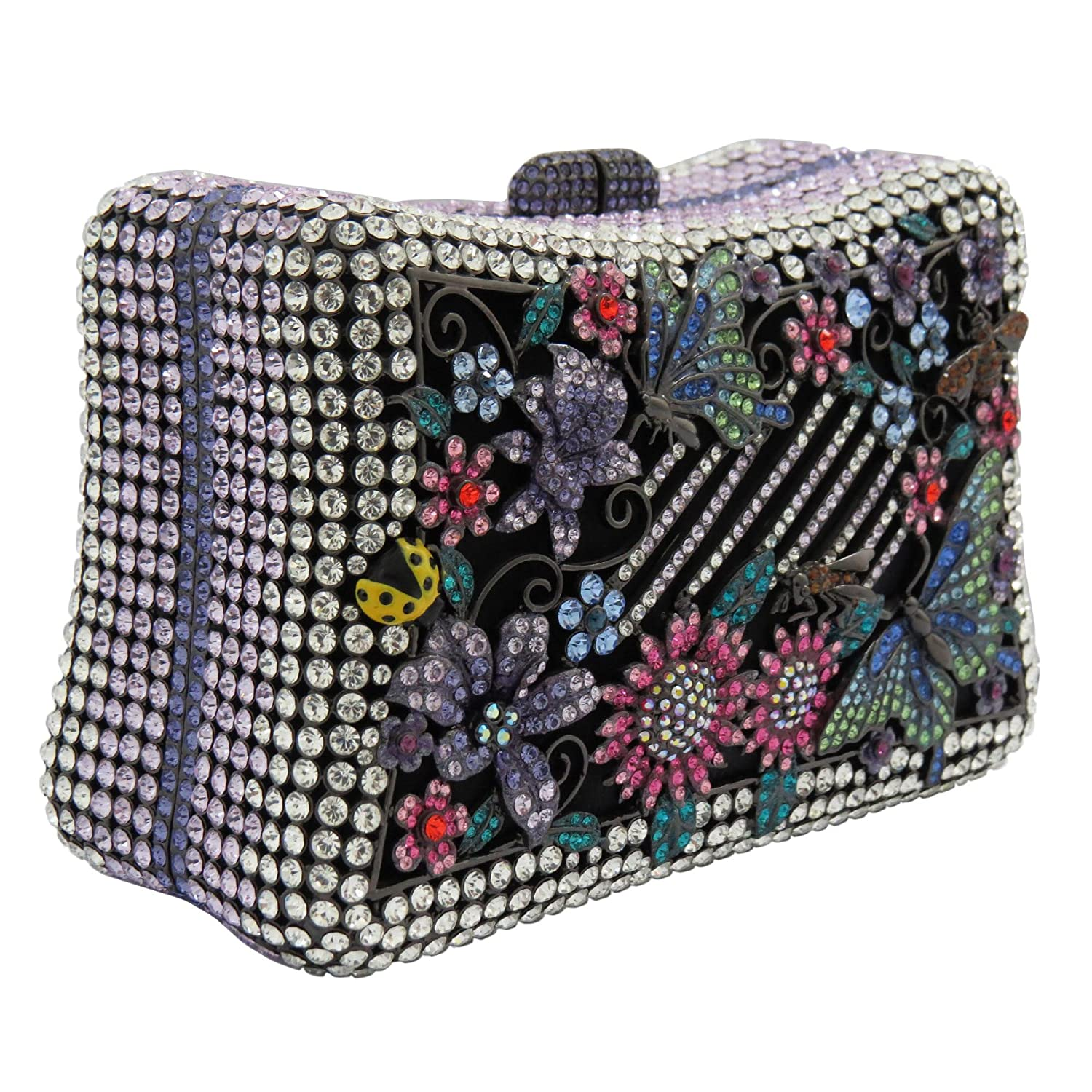 Flowers And Butterflies Design Clutch Purse With Swarovski Element Crystals