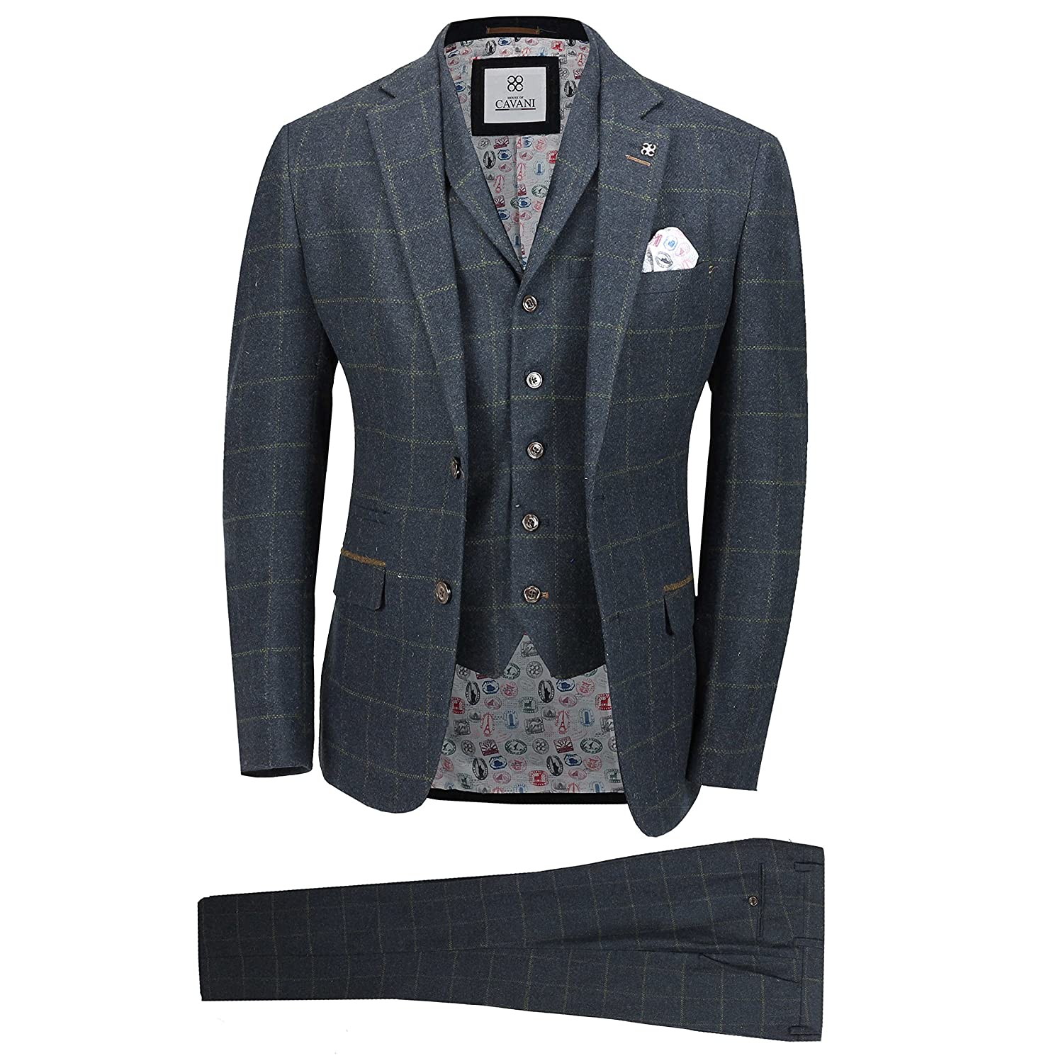 Cavani Mens 3 Piece Wool Suit Navy Vintage Tweed Check Retro Peaky Blinder Smart Tailored Fit Jacket