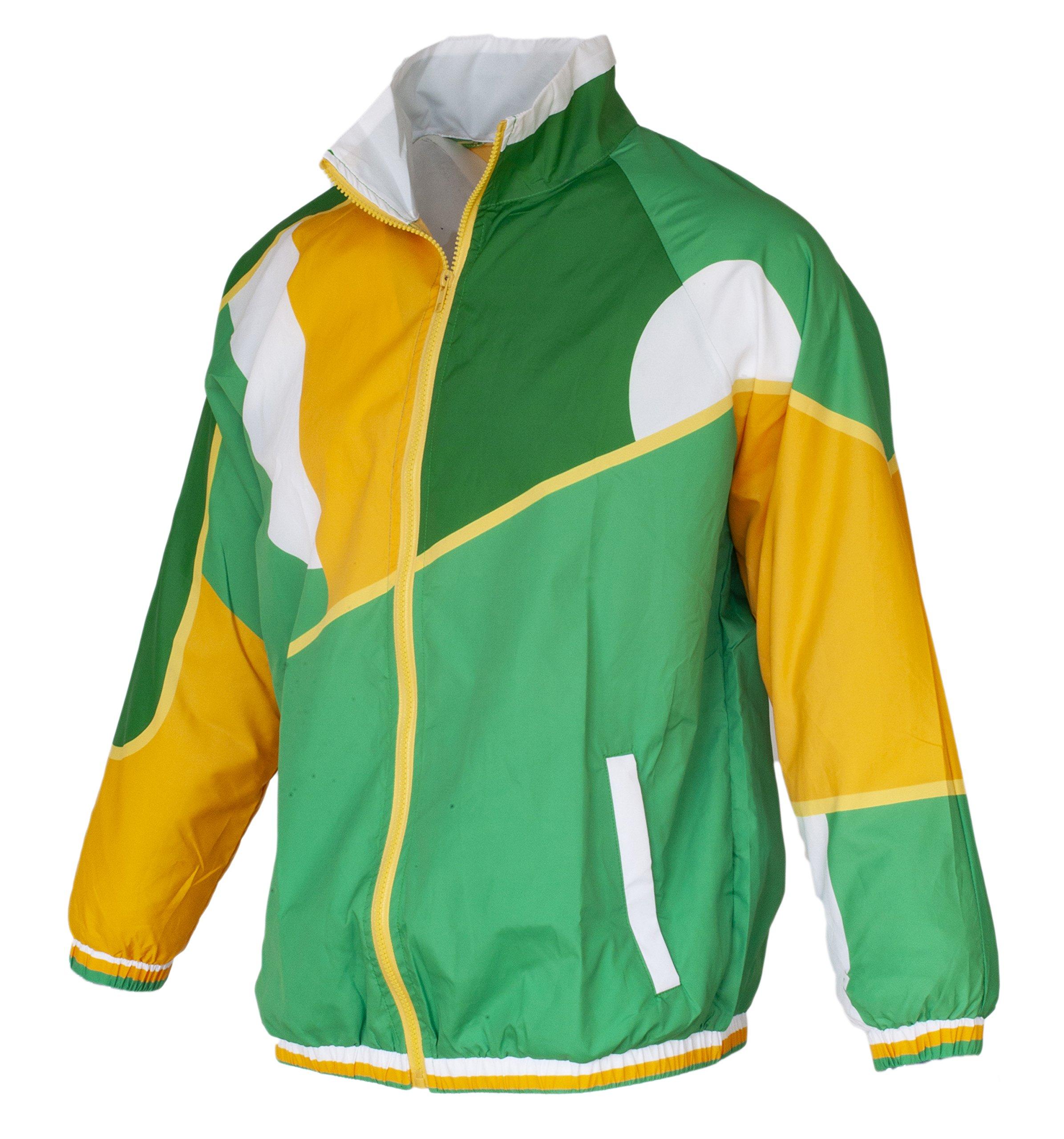 Funny Guy Mugs Irish 80s & 90s Retro Neon Windbreaker, Large - St Patrick's Day Jacket by Funny Guy Mugs