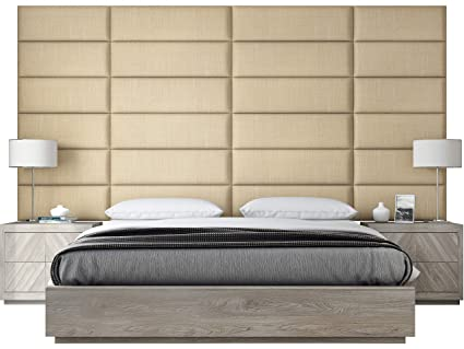 buy online da2ac 46501 VANT Upholstered Headboards - Accent Wall Panels - Textured Cotton Weave  Toasted Wheat - 39