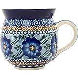 Ceramika Artystyczna Polish Pottery 12 Oz Blue Poppy Circle Bubble mug, 12 oz, Blue