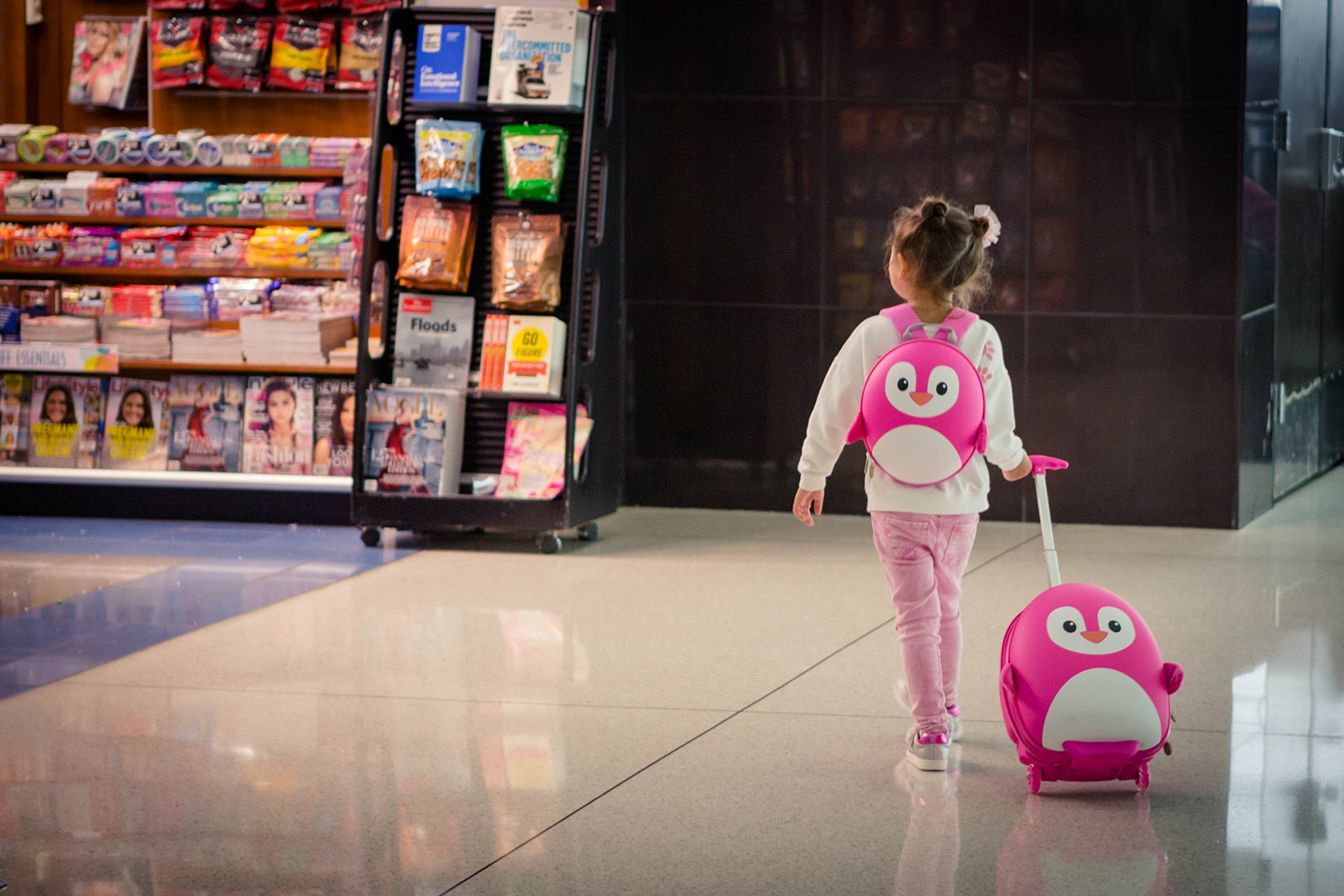 Cute Animal Travel Trolley Luggage for Kids - Pink Penguin by Kids Travel Boutique (Image #8)