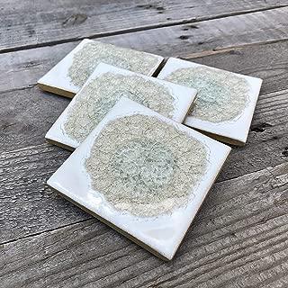 product image for Geode Crackle Coaster Set of 4 in White, Geode Coaster, Crackle Coaster, Fused Glass Coaster, Crackle Glass Coaster, Agate Coaster, Ceramic Coaster, Dock 6 Pottery Coaster