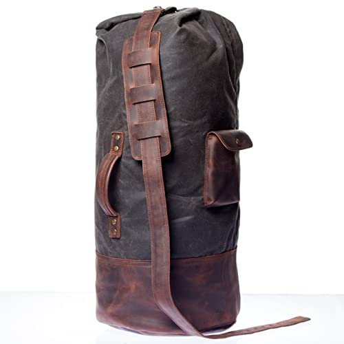 1ff0e4701bd3 Classic Handmade Waxed Canvas Duffle Bag With Natural Leather Cover - High  Quality Overnight Bag With Waterproof Lining For Men And Women - Old School  ...